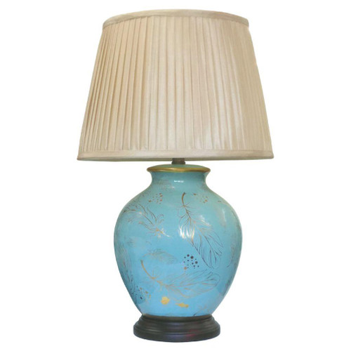 Pair of Chinese Ceramic Round Lamps with Shades - Turquoise Feather- 56cm