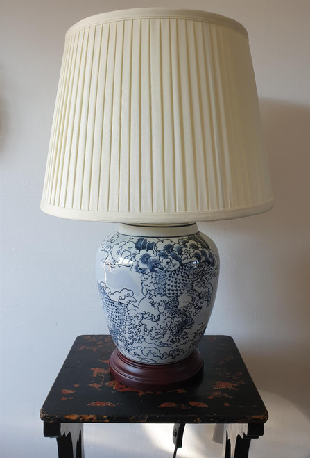 Pair of Chinese Ceramic Table Lamps with Shades -  Japanese Wave Pattern - 51cm