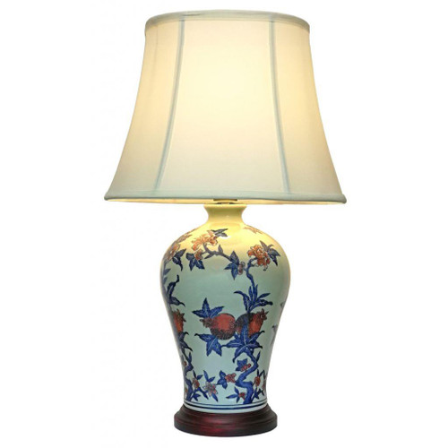 Pair of Chinese Ceramic Jar Lamps with Shades - Zhu Fu - 63cm