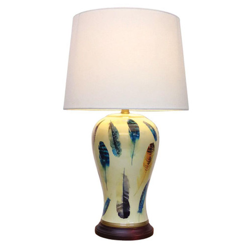 Pair of Chinese Ceramic Vase Lamps with Shades - Yellow Feather - 62cm