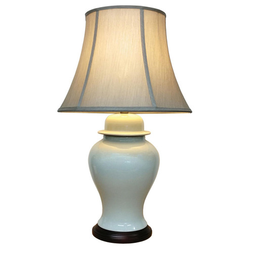 Pair of Chinese Ceramic Jar Lamps with Shades - White Crackle Glaze - 67cm