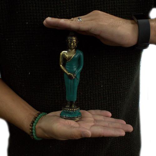 Vintage Style Brass Buddha - Standing - Medium Size 17.5cm - Feng Shui