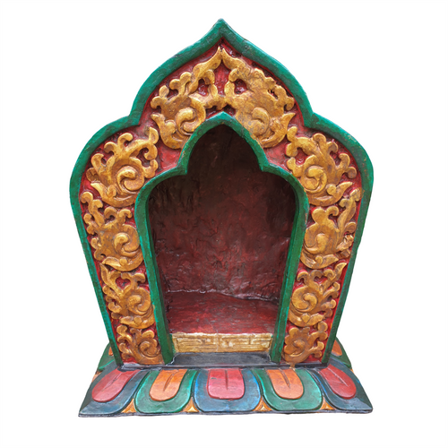 Nepalese Carved Wooden Shrine - Vintage Style - Hand Painted - 33cm