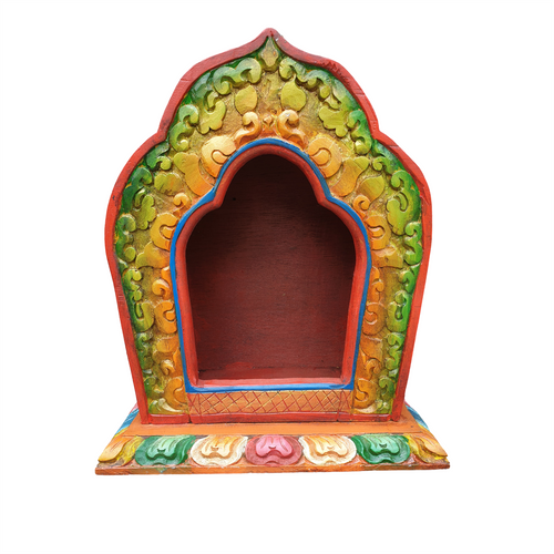 Nepalese Carved Wooden Shrine - Vintage Style - Hand Painted - 34cm