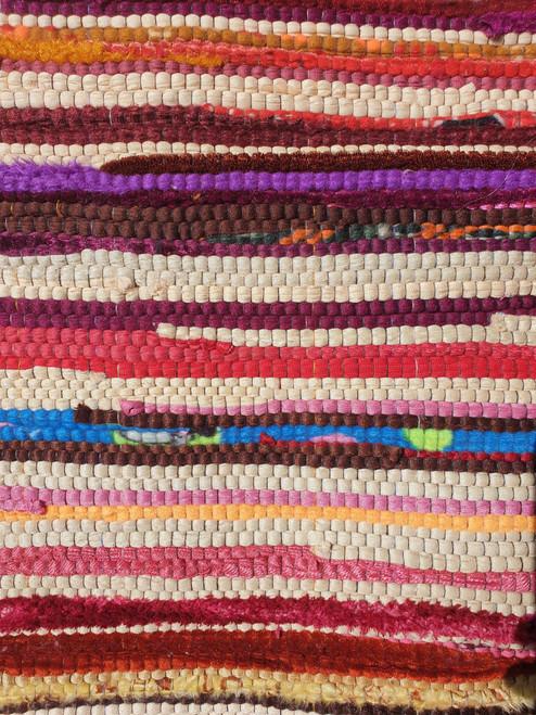 Soft Velvet Rag Rug - Medium - 125cm x 75cm - Hand Woven - Mixed Colours