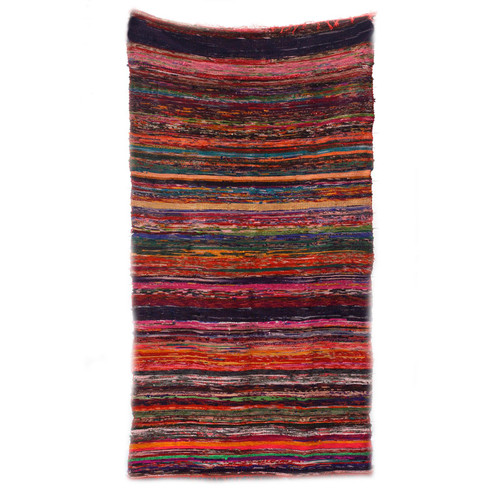 Luxury Rag Rug - Recycled Material - 150cm x 90cm - Hand Woven - Red
