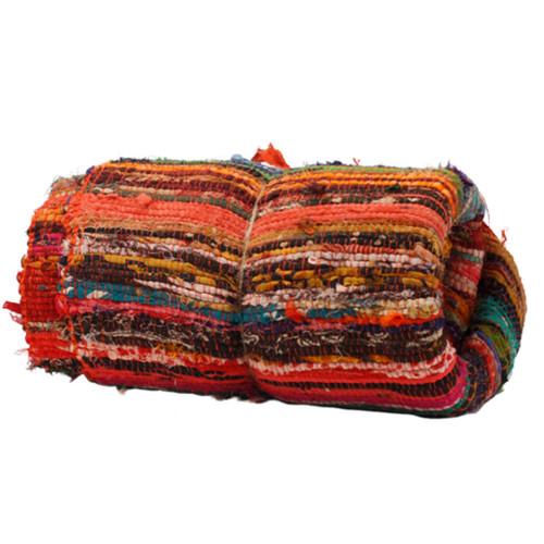 Luxury Rag Rug - Recycled Material - 150cm x 90cm - Hand Woven - Orange