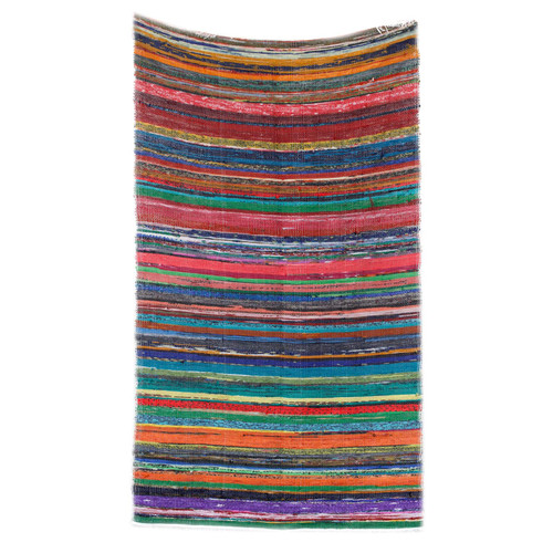 Luxury Rag Rug - Recycled Material - 150cm x 90cm - Hand Woven - Natural