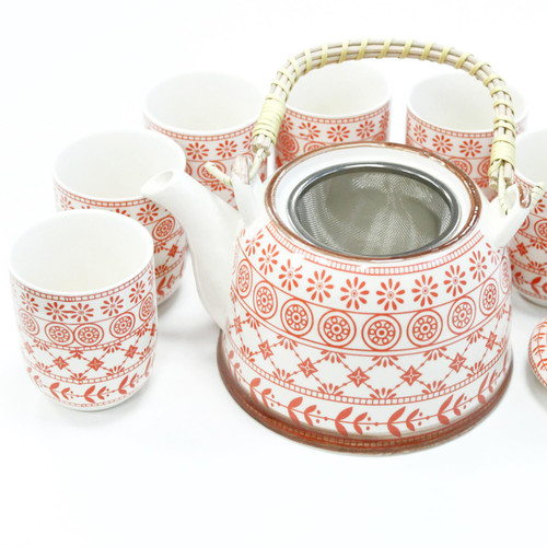 Chinese Herbal Tea Set - Amber Pattern - 6 Cups and Infuser - Boxed