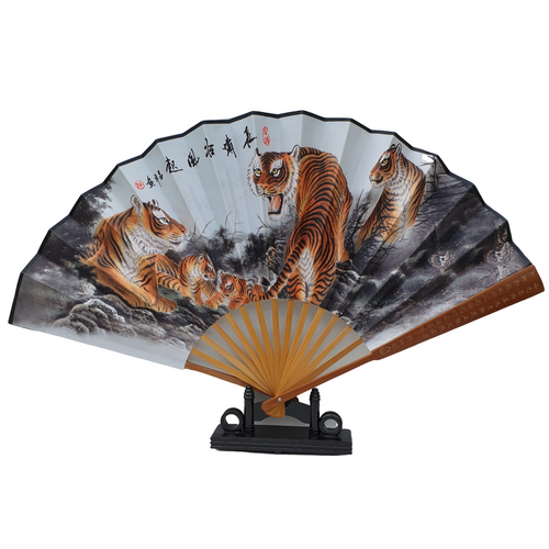 Wooden Fan Display Stand - Black Lacquered Finish - Holds Fans from 23 - 32cm