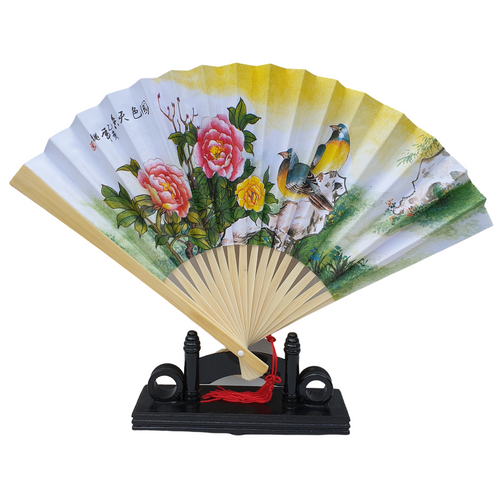 Chinese Fan - Paper and Bamboo - Choice of Bird Pictures - 23cm