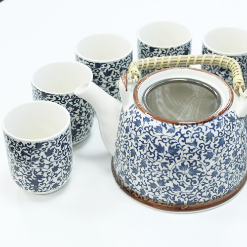 Chinese Herbal Tea Set - Blue Vine Pattern - 6 Cups and Infuser - Boxed