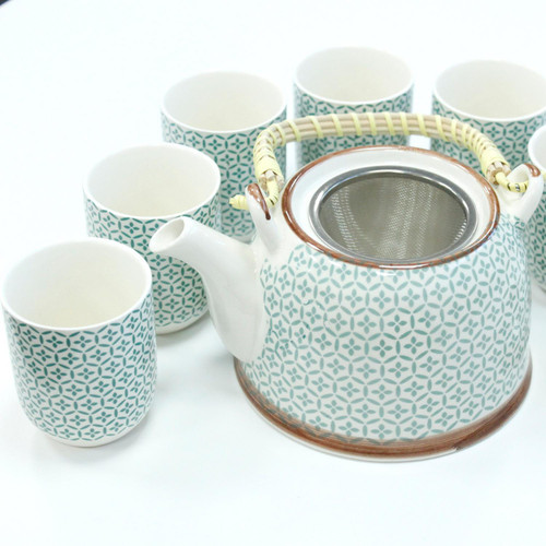 Chinese Herbal Tea Set - Green Mosaic Pattern - 6 Cups and Infuser - Boxed