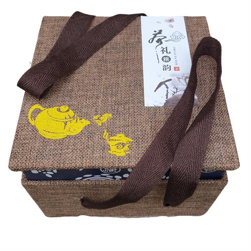 Chinese Goldfish Tea Set for One - Crackle Glazed Design - Gift Box