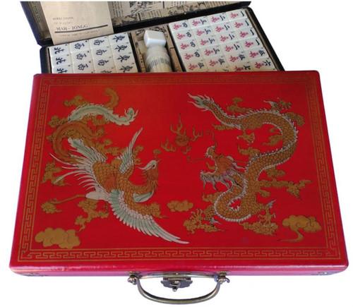 Chinese Mahjong - Large Set - Leatherette Dragon and Phoenix Case