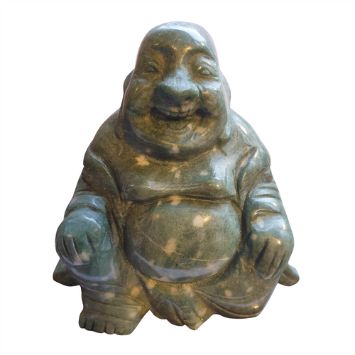 Chinese Jade Buddha - Hand Carved - Wooden Stand - Feng Shui - Gift Box - 11cm