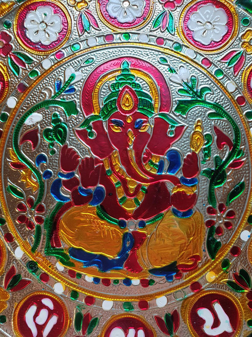 Ganesha Offering Plate or Tray - Stainless Steel - Coloured Pattern - 27cm