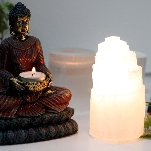 Natural Selenite Tower Lamp - 15 cm Tall - 240v - Complete with Bulb