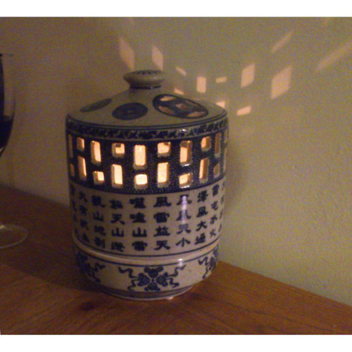 Chinese Ceramic Large Candle Holder with Lid - Blue with Chinese Script Pattern
