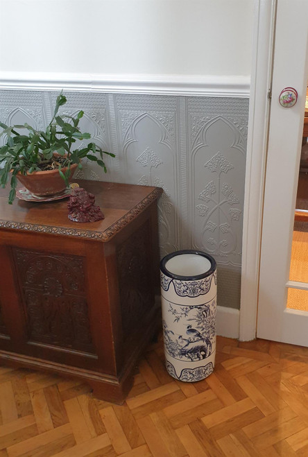 Umbrella Stand / Stick Holder - Chinese Ceramic - Pheasant and Peonies Pattern