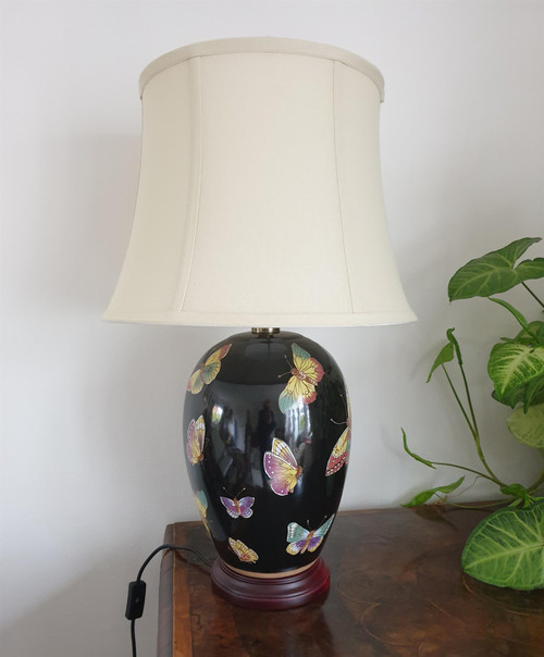 Pair of Oriental Black Melon Jar Lamps with Shades - Butterflies Pattern - 65cm