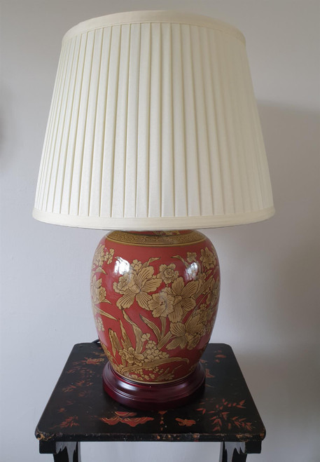 Pair of Chinese Red Golden Daffodil Lamps with Shades - 52cm