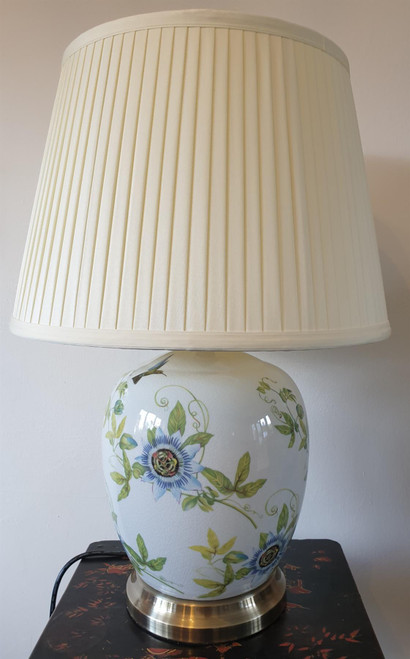 Pair of Chinese Table Lamps - White Passion Flower Pattern with Shades - 52cm