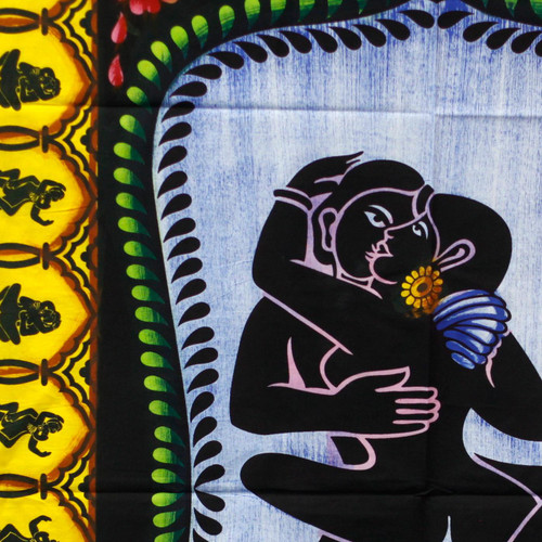 Indian Hand brushed Cotton Wall  Hanging - 75cm x 115cm - Kamasutra