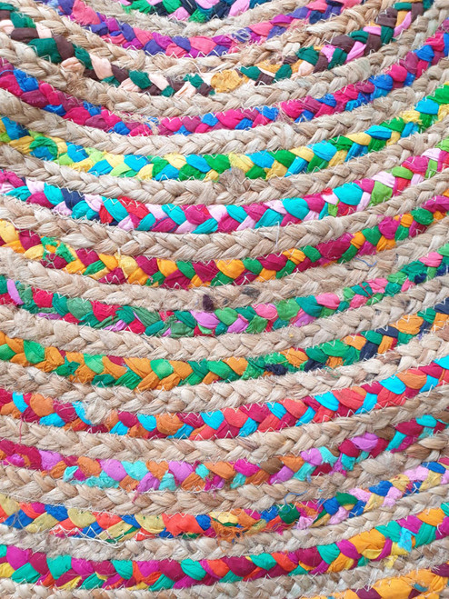 Round Jute and Recycled Cotton Rag Rug - Multi Coloured - 120 cm