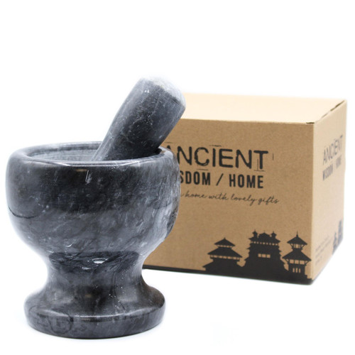 Extra Large Marble Pestle and Mortar - Black Colour Marble - 12.5 x 12cm