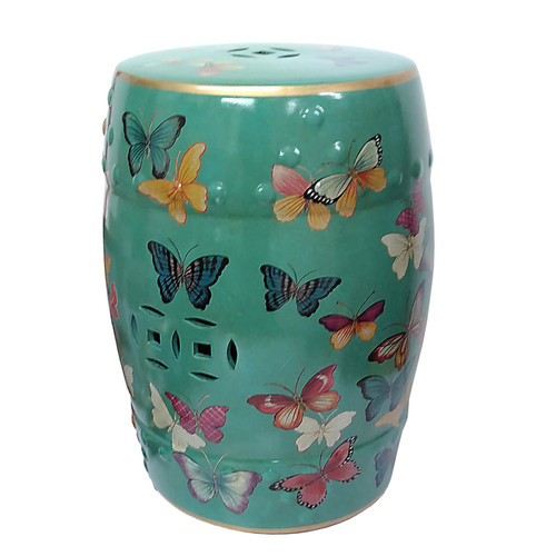 Chinese Ceramic Stool / Plant Stand - Butterflies Pattern