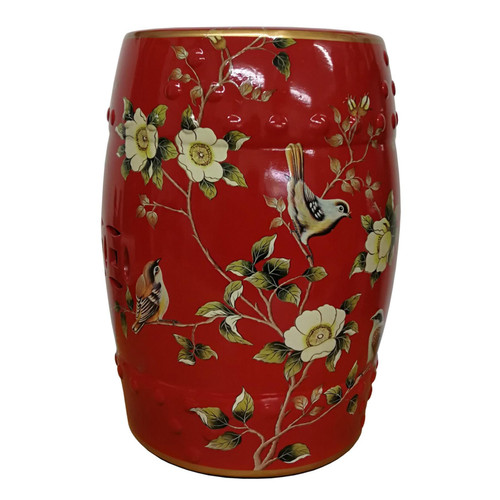 Chinese Ceramic Stool / Plant Stand - Chaffinches and Flowers Pattern