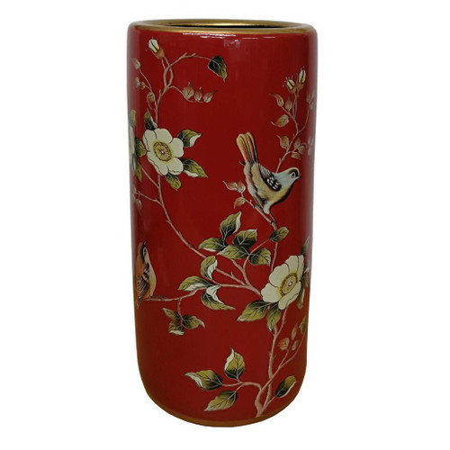Umbrella Stand / Stick Holder - Chinese Ceramic - Chaffinches and Flowers