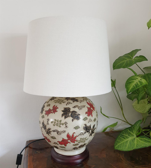 Pair of Chinese Round Bottle Lamps with Shades - Goldfish Pattern - 55cm
