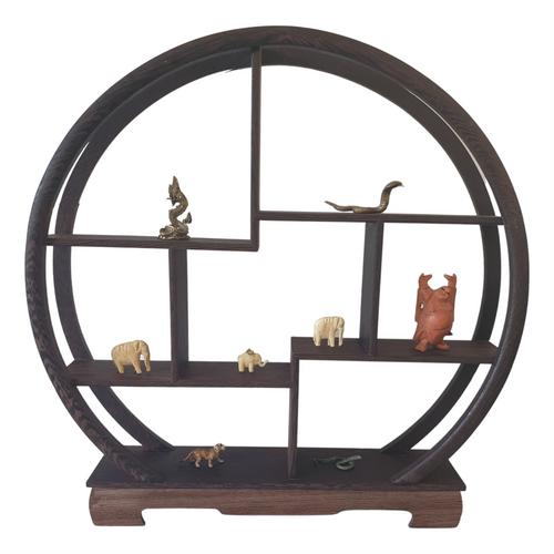 Wooden Curio or Netsuke Stand - Dark Grained Wood - Moon Shape - 30cm