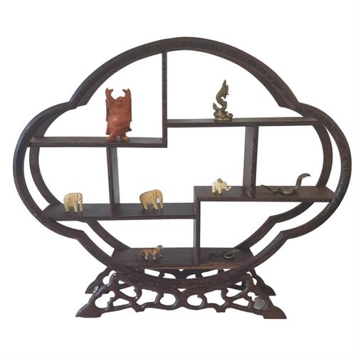 Wooden Curio or Netsuke Stand - Dark Grained Wood - Cloud Shape - 28cm