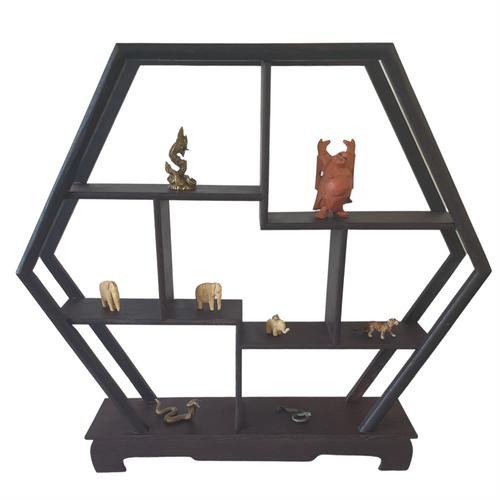 Wooden Curio or Netsuke Stand - Dark Grained Wood - Hexagon Shape - 31cm
