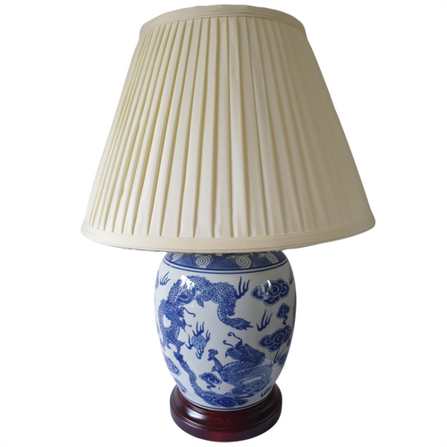 Pair of Chinese Jar Table Lamps with Shades - Blue Dragon Pattern 54cm