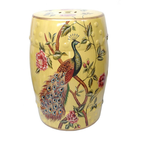 Chinese Ceramic Stool / Plant Stand - Peacocks and Peonies Pattern