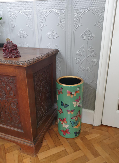 Umbrella Stand / Stick Holder - Chinese Ceramic - Butterfly Pattern