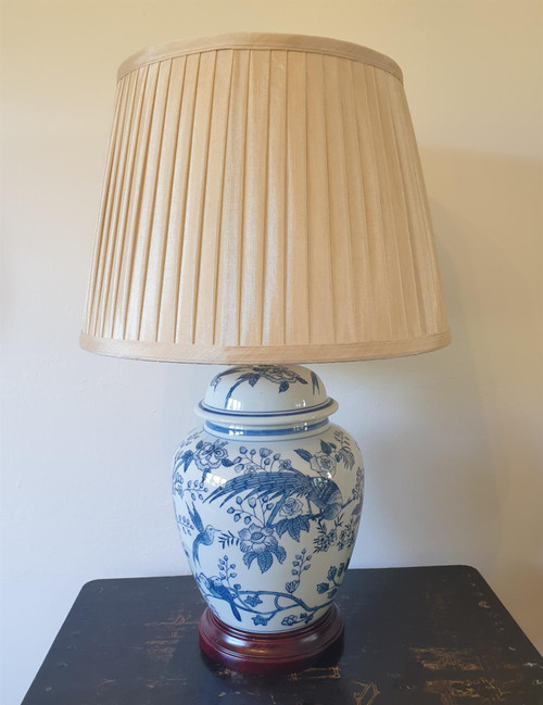 Pair of Chinese General Jar Table Lamps with Shades - Blue Tropical Birds - 55cm