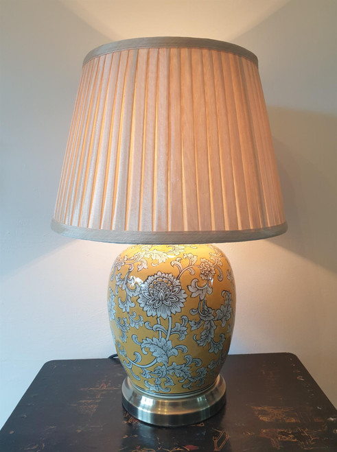 Pair of Chinese Melon Jar Table Lamps with Shades - Imperial Yellow - 51cm