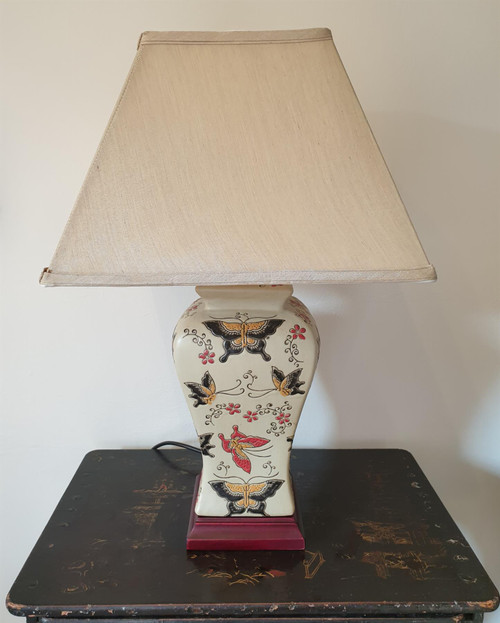 Pair of Chinese Vase Table Lamps with Shades - Butterfly Pattern - 54cm