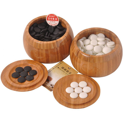 Chinese Go Game Set - Wei Qi Stones - Bamboo Bowls - Folding Bamboo Board