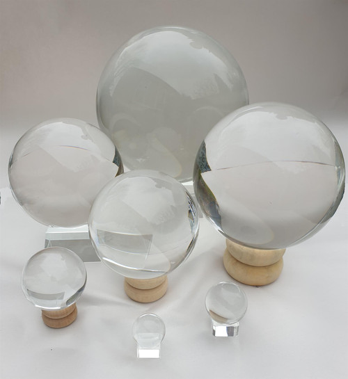 Crystal Ball - 80mm Diameter - Wooden Stand - Gift Box