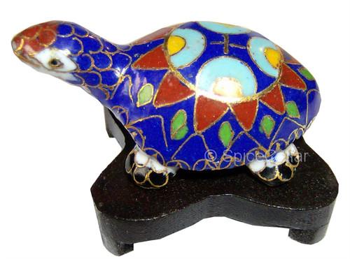 Cloisonne Turtle - Blue Enamel - Wooden Stand - 5cm- Gift Box