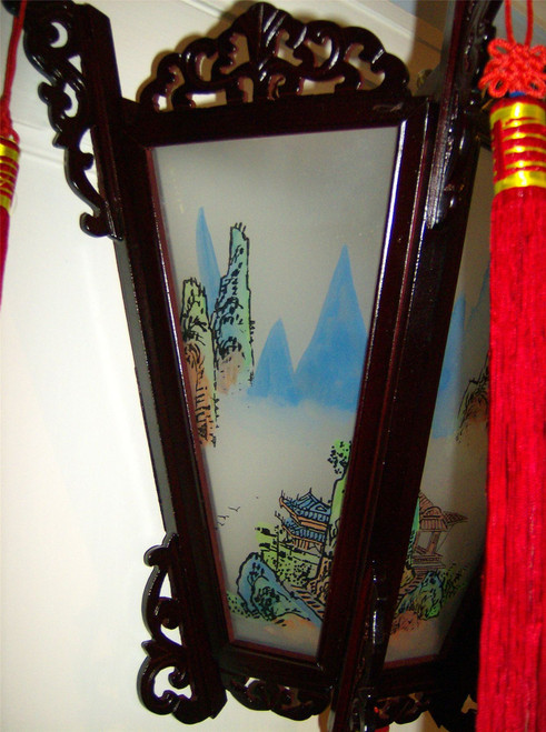 Chinese Palace Wooden Wall Lantern - Painted Landscapes on Glass Panels