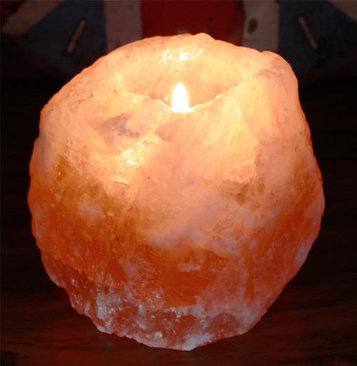Himalayan Crystal Salt Tea Light Candle Holder - 700g Approx