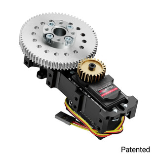 SG20 Series Servo Gearbox (3:1 Ratio, Continuous Rotation, 1416 oz-in, 23 RPM)