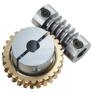 "27:1 Worm Gear Set (6mm to 1/4"" Bore Worm, Hub Mount Worm Gear)"